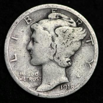 Image of 1918-P / MERCURY DIME / CIRCULATED GRADE GOOD / VERY GOOD 90% SILVER COIN
