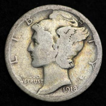 Image of 1918-S / MERCURY DIME / CIRCULATED GRADE GOOD / VERY GOOD 90% SILVER COIN