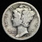 Image of 1919-D MERCURY DIME / CIRCULATED GRADE GOOD / VERY GOOD 90% SILVER COIN
