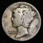 Image of 1919-S MERCURY DIME / CIRCULATED GRADE GOOD / VERY GOOD 90% SILVER COIN