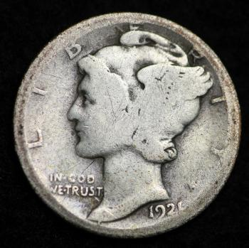 Image of 1921-D MERCURY DIME / CIRCULATED GRADE GOOD / VERY GOOD 90% SILVER COIN