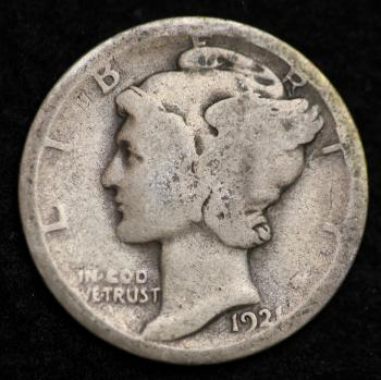 Image of 1921-P MERCURY DIME / CIRCULATED GRADE GOOD / VERY GOOD 90% SILVER COIN