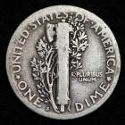 Image of 1923-S MERCURY DIME / CIRCULATED GRADE GOOD / VERY GOOD 90% SILVER COIN