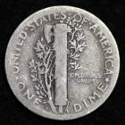 Image of 1925-D MERCURY DIME / CIRCULATED GRADE GOOD / VERY GOOD 90% SILVER COIN