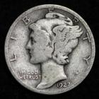 Image of 1927-D MERCURY DIME / CIRCULATED GRADE GOOD / VERY GOOD 90% SILVER COIN
