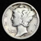 Image of 1931-D MERCURY DIME / CIRCULATED GRADE GOOD / VERY GOOD 90% SILVER COIN