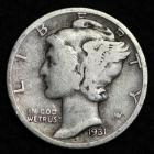 Image of 1931-P MERCURY DIME / CIRCULATED GRADE GOOD / VERY GOOD 90% SILVER COIN