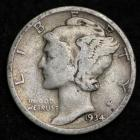 Image of 1934-D MERCURY DIME / CIRCULATED GRADE GOOD / VERY GOOD 90% SILVER COIN