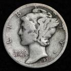Image of 1936-S MERCURY DIME / CIRCULATED GRADE GOOD / VERY GOOD 90% SILVER COIN
