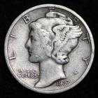 Image of 1937-D MERCURY DIME / CIRCULATED GRADE GOOD / VERY GOOD 90% SILVER COIN