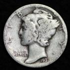 Image of 1937-P MERCURY DIME / CIRCULATED GRADE GOOD / VERY GOOD 90% SILVER COIN