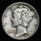 Image of 1937-S MERCURY DIME / CIRCULATED GRADE GOOD / VERY GOOD 90% SILVER COIN
