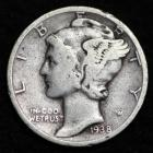 Image of 1938-S MERCURY DIME / CIRCULATED GRADE GOOD / VERY GOOD 90% SILVER COIN
