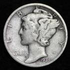 Image of 1939-D MERCURY DIME / CIRCULATED GRADE GOOD / VERY GOOD 90% SILVER COIN