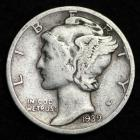 Image of 1939-S MERCURY DIME / CIRCULATED GRADE GOOD / VERY GOOD 90% SILVER COIN