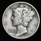 Image of 1941-D MERCURY DIME / CIRCULATED GRADE GOOD / VERY GOOD 90% SILVER COIN