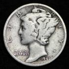 Image of 1941-S MERCURY DIME / CIRCULATED GRADE GOOD / VERY GOOD 90% SILVER COIN