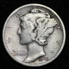 Image of 1943-S MERCURY DIME / CIRCULATED GRADE GOOD / VERY GOOD 90% SILVER COIN