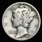 Image of 1944-D MERCURY DIME / CIRCULATED GRADE GOOD / VERY GOOD 90% SILVER COIN