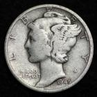 Image of 1945-D MERCURY DIME / CIRCULATED GRADE GOOD / VERY GOOD 90% SILVER COIN