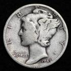 Image of 1945 MERCURY DIME / CIRCULATED GRADE GOOD / VERY GOOD 90% SILVER COIN