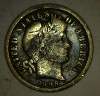 Image of 1908 Barber Dime - VG