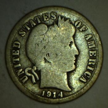 Image of 1914 Barber Dime - G