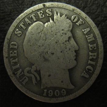 Image of 1909 Barber Dime GOOD