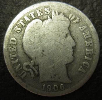 Image of 1906-D Barber Dime GOOD