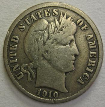 Image of 1910-S Barber Dime FINE++