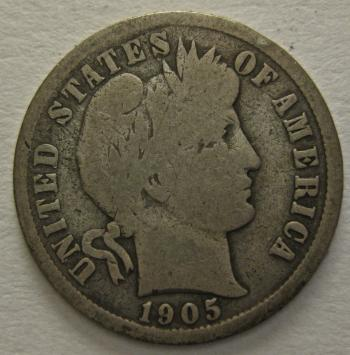 Image of 1905 Barber Dime GOOD