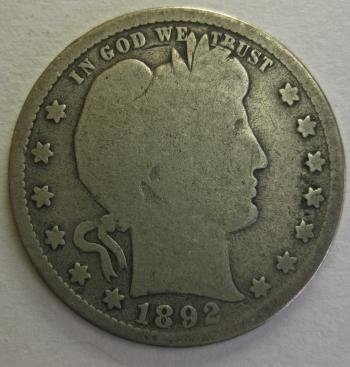 Image of 1892-S Barber Quarter GOOD