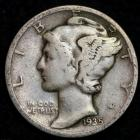 Image of 1935-D MERCURY DIME / CIRCULATED GRADE GOOD / VERY GOOD 90% SILVER COIN