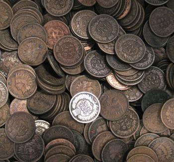 Image of 10 Different Dates Indian Head Cent Pennies