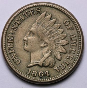 Image of 1864 Copper-Nickel Indian Cent XF