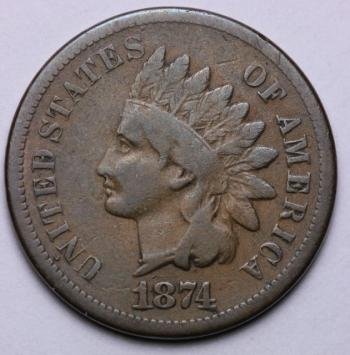 Image of 1874 Indian Cent VG