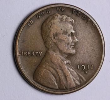 Image of 1911-S Lincoln Cent - F+