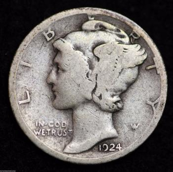 Image of 1924-D MERCURY DIME / CIRCULATED GRADE GOOD / VERY GOOD 90% SILVER COIN