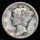 Image of 1927-P / MERCURY DIME / CIRCULATED GRADE GOOD / VERY GOOD 90% SILVER COIN
