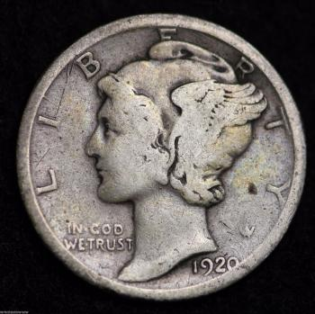 Image of 1920-D MERCURY DIME / CIRCULATED GRADE GOOD / VERY GOOD 90% SILVER COIN