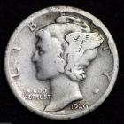 Image of 1926-S MERCURY DIME / CIRCULATED GRADE GOOD / VERY GOOD 90% SILVER COIN
