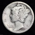 Image of 1925-S MERCURY DIME / CIRCULATED GRADE GOOD / VERY GOOD 90% SILVER COIN