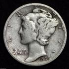 Image of 1936-D MERCURY DIME / CIRCULATED GRADE GOOD / VERY GOOD 90% SILVER COIN