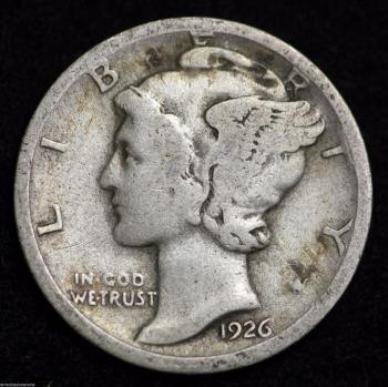 Image of 1926-D MERCURY DIME / CIRCULATED GRADE GOOD / VERY GOOD 90% SILVER COIN