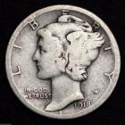 Image of 1918-D MERCURY DIME / CIRCULATED GRADE GOOD / VERY GOOD 90% SILVER COIN