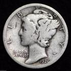 Image of 1926-P MERCURY DIME / CIRCULATED GRADE GOOD / VERY GOOD 90% SILVER COIN